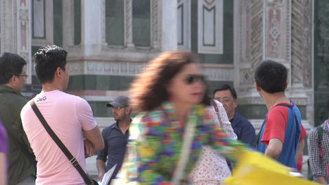 Asian people watching at the Cathedral of Florence Footage