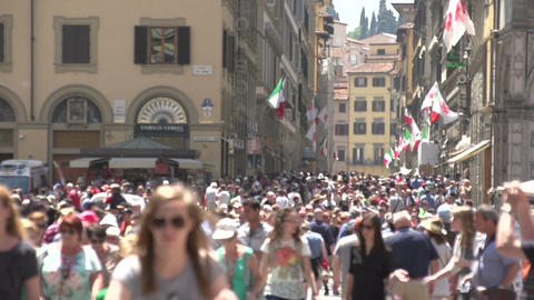 People Walking In Shopping Street Florence, Slow Motion stock footage