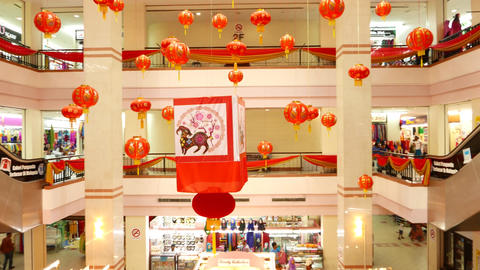 Medium size mall atrium decorated for Chinese New Year celebration Live Action