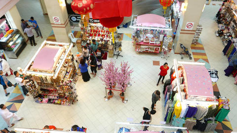 Top view decorated stalls in mall atrium, selling bijouterie and cloth Footage