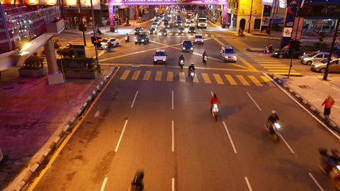 Top view night street traffic start moving many motorbikes rush forward Footage