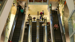 Top view on escalators moving up and down, zoom out Footage