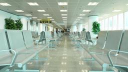 Empty seats in lounge area, people walking far away, terminal hall Footage