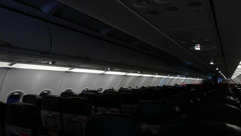Aeroplane Cabin In Darkness During Night Flight. Low Light stock footage