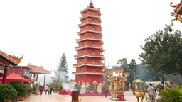 Buddhist monastery pagoda tower, traditional architecture Footage