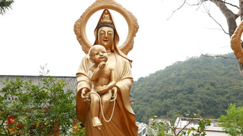 Baby Buddha statue in the Ten Thousand Buddhas Monastery Footage