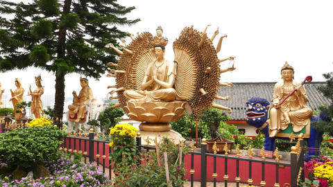 Thousand hands Buddha statue in Ten Thousand Buddhas Monastery Footage