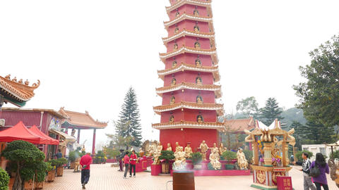 Amazing pagoda tower at Main Plaza in Ten Thousand Buddhas Monastery Footage