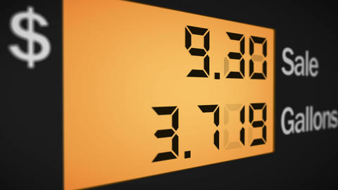 Petrol station pump display, left view, 4K Animation