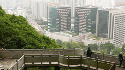 Observation Bridge On Mountain Side Against Slope And Cityscape stock footage