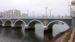 Lek Yuen bridge from the quay, panning shot, Shing Mun River Channel Footage