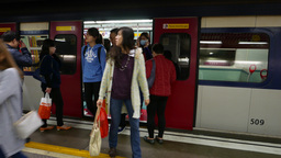 Chinese people come out from metro train Footage