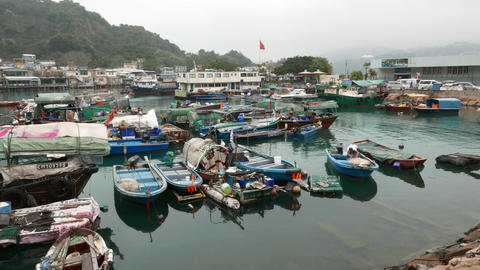 Bay full of small fishing boats, fisherman vessels parking area Footage