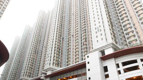 Massive mega populous district, high-rise houses, parking lot at basement Footage