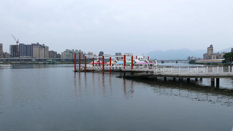 Dadaocheng Wharf at Tamsui River at evening time, dusk riverside panorama Live Action
