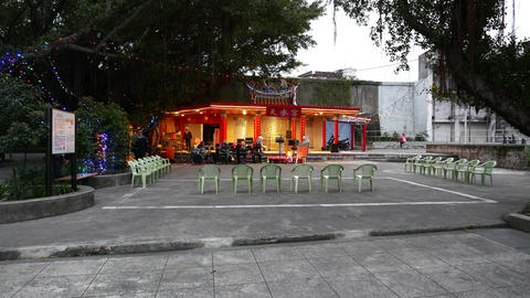 Estrade stage at public park, evening time, traditional Taipei Footage