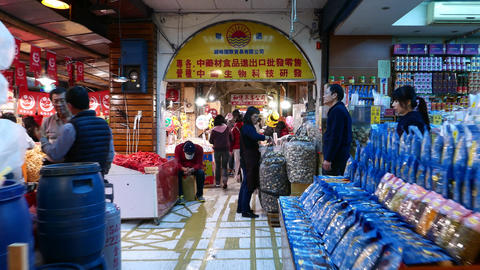 Nuts section in gallery market, POV walk forward till sweets stalls Footage