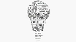 Light bulb Online Business Marketing and Shopping word cloud text typography Footage