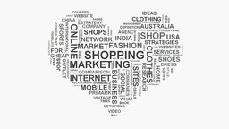 Love heart online shopping marketing concept word cloud text typography Footage