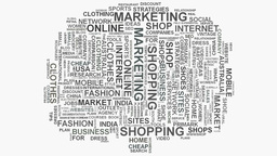 Tree Online Business Marketing and Shopping commerce word cloud text typography Footage