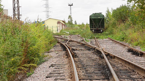 View of abandoned old railways in summer windy day Footage