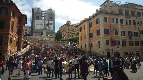 Church and the Spanish steps from Piazza di Spagna Live Action