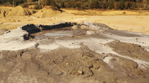 Ultra Close-up Shot Of A Mud Volcano In A Remote Village stock footage