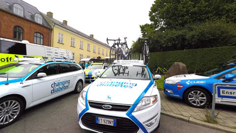Team Cars From Bicyclerace In Denmark - Tour Of Denmark stock footage
