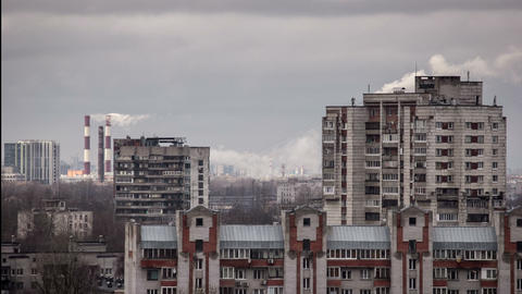 Smoke from chimneys and typical russian cityscape Footage