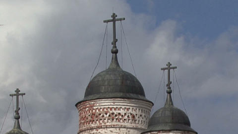 domes and crosses on the background of running clouds Live Action