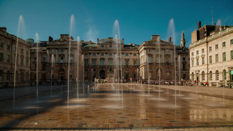 Fountains Spurting Water in Somerset House, London UK Footage