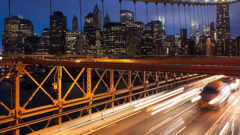 Brooklyn bridge car traffic light timelapse - New York - USA Footage