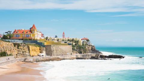 4K timelapse of Estoril coastline near Lisbon in Portugal - UHD Footage