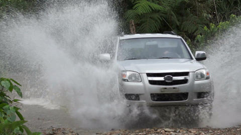 Puddle Jumping 4x4 Off-road Truck Stock Video Footage