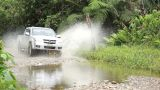 Puddle Jumping 4x4 Off-road Truck stock footage