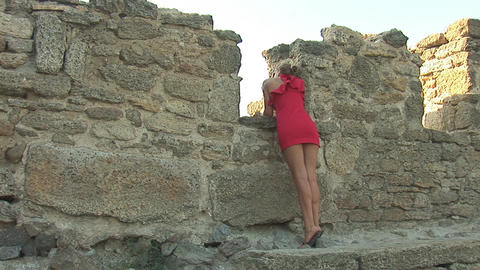 woman in red b Stock Video Footage