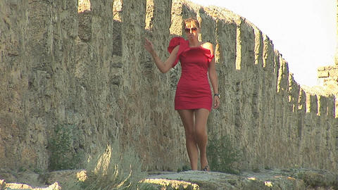 woman in red d Stock Video Footage