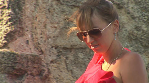 woman in red f Stock Video Footage