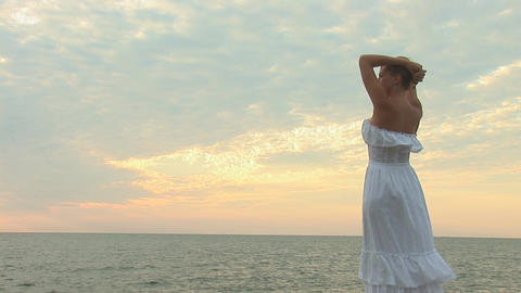 woman in white c Stock Video Footage