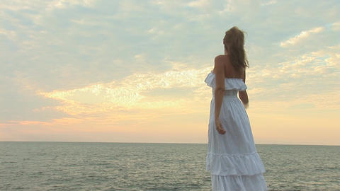 woman in white e Stock Video Footage