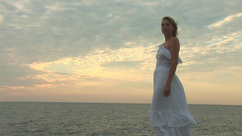 woman in white g Stock Video Footage