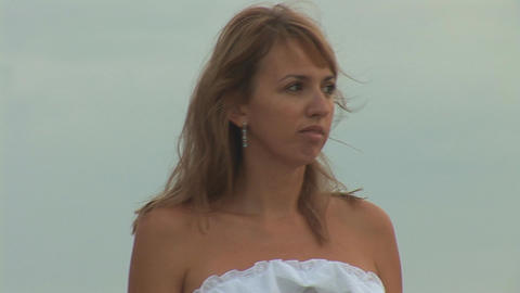 woman in white i Stock Video Footage
