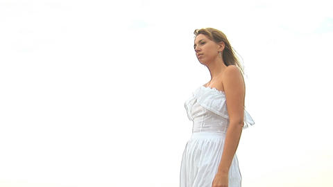 woman in white k Stock Video Footage