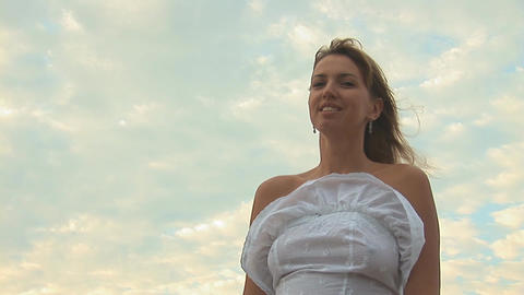 woman in white m Stock Video Footage