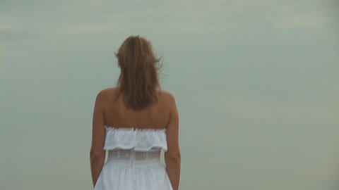 woman in white o Stock Video Footage
