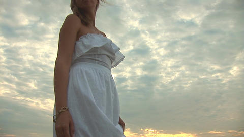 woman in white q Stock Video Footage