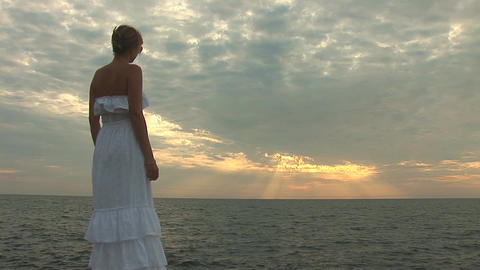 woman in white s Stock Video Footage