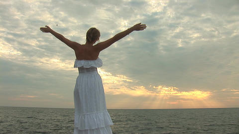woman in white u Stock Video Footage