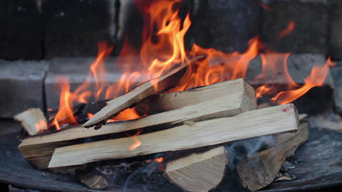 Burning Wood In The Fireplace Stock Video Footage