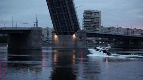 boat near the drawbridge Stock Video Footage